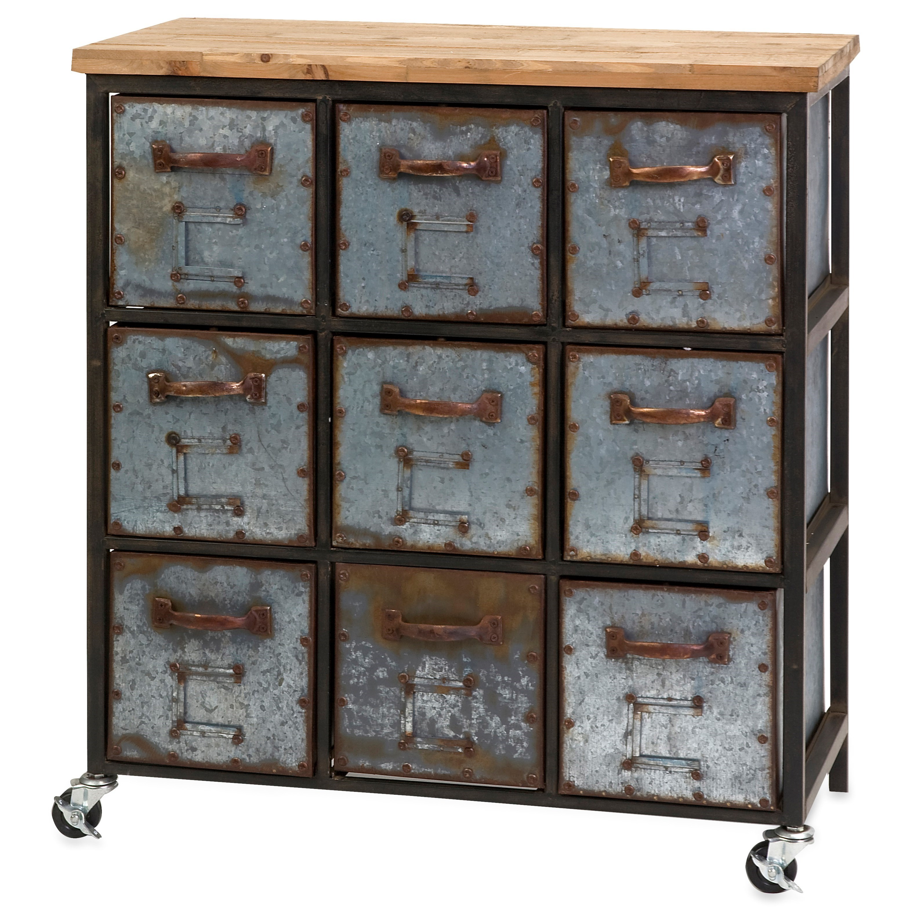 Accent Tables and Cabinets Holloway 9-Drawer Cabinet by IMAX Worldwide Home at Alison Craig Home Furnishings