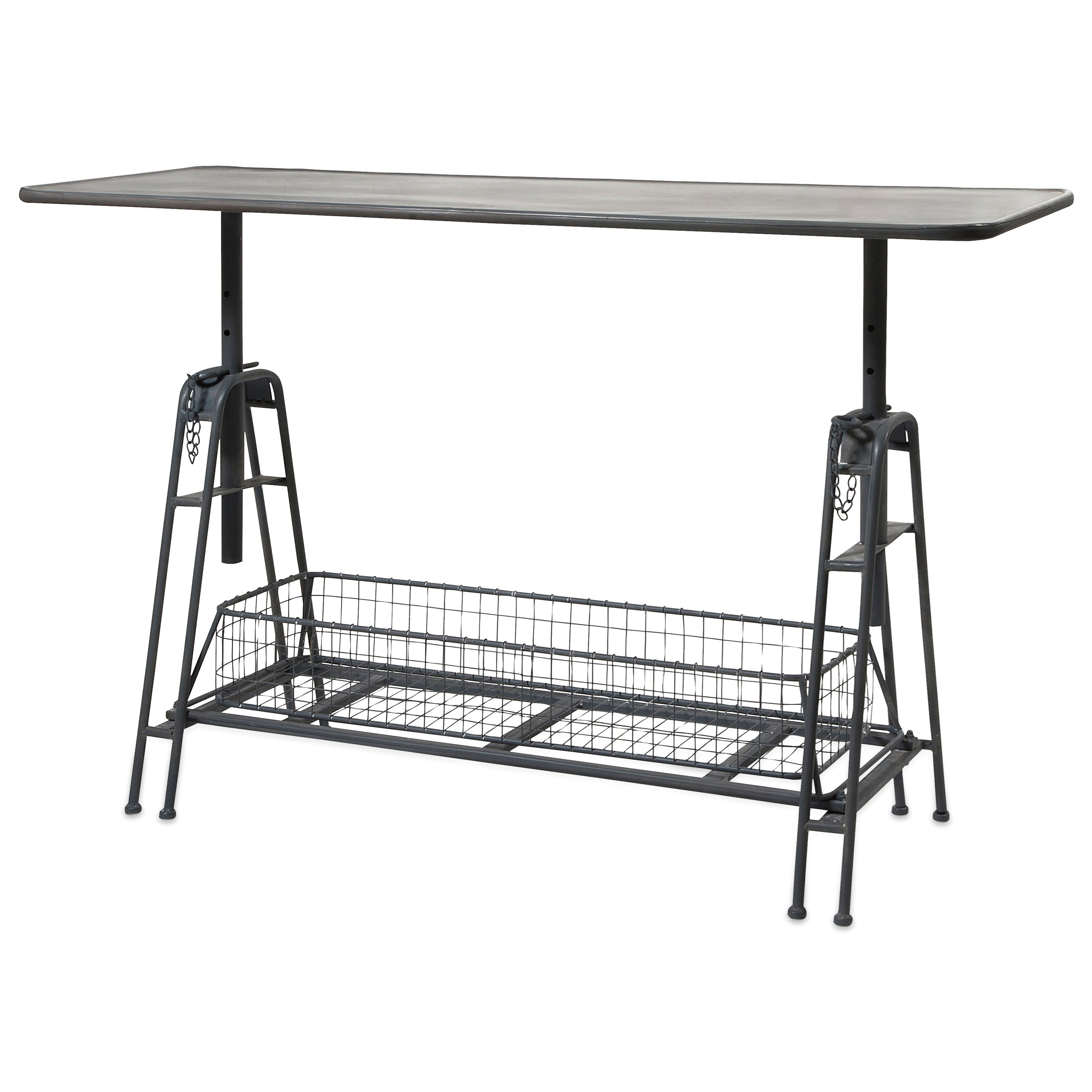 Accent Tables and Cabinets Henry Adjustable Metal Work Table by IMAX Worldwide Home at Alison Craig Home Furnishings