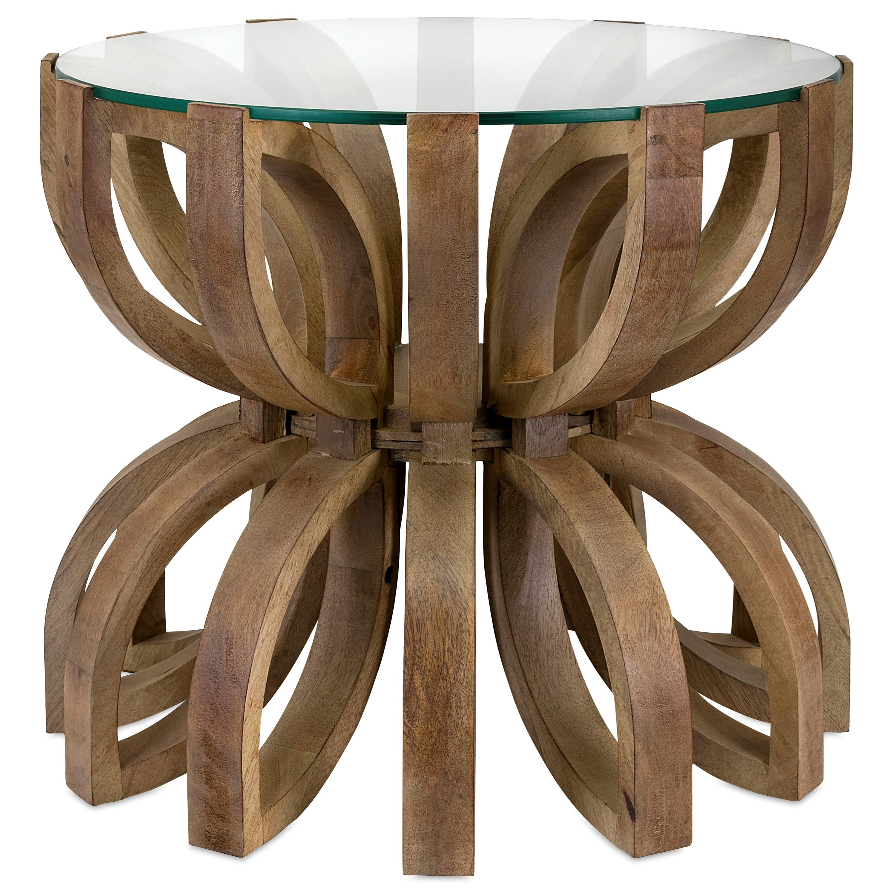 Accent Tables and Cabinets Lotus Wood Accent Table by IMAX Worldwide Home at Alison Craig Home Furnishings