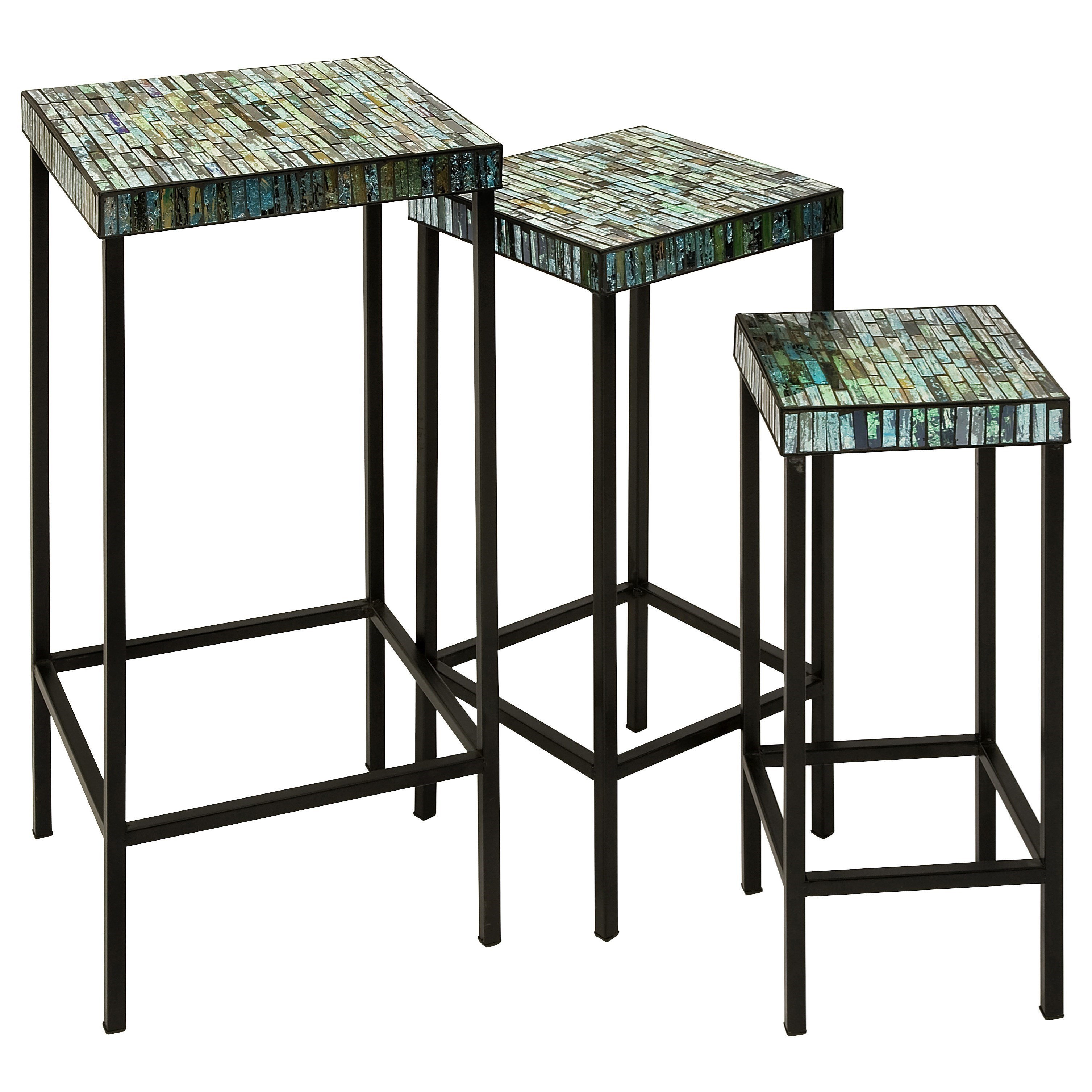 Accent Tables and Cabinets Aramis Mosaic Glass Tables - Set of 3 by IMAX Worldwide Home at Alison Craig Home Furnishings