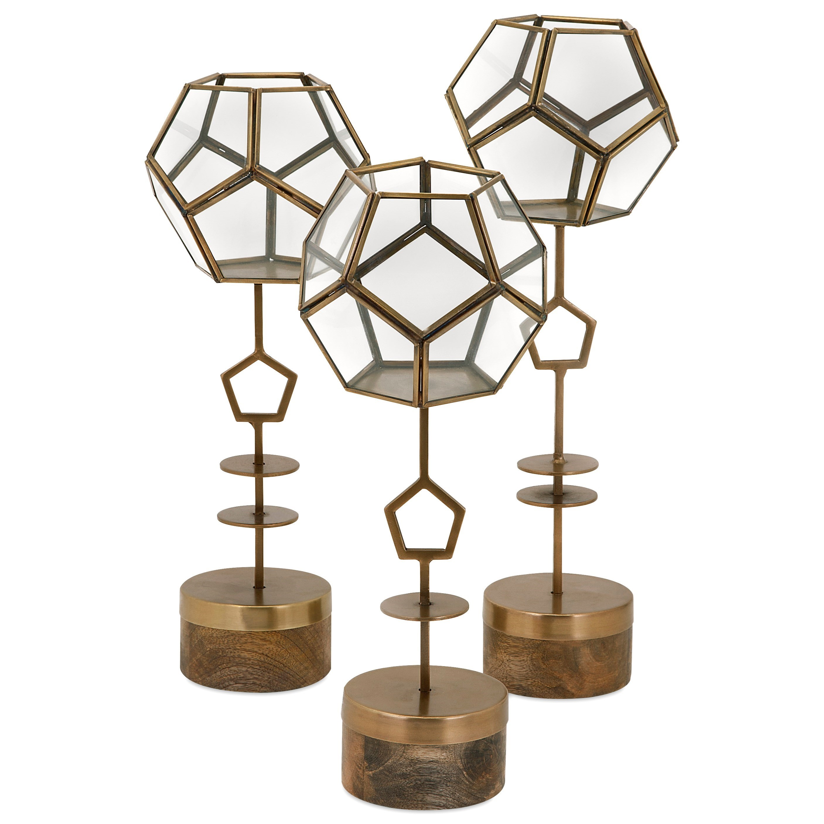 Accessories Jada Terrarium Stands - Set of 3 by IMAX Worldwide Home at Alison Craig Home Furnishings
