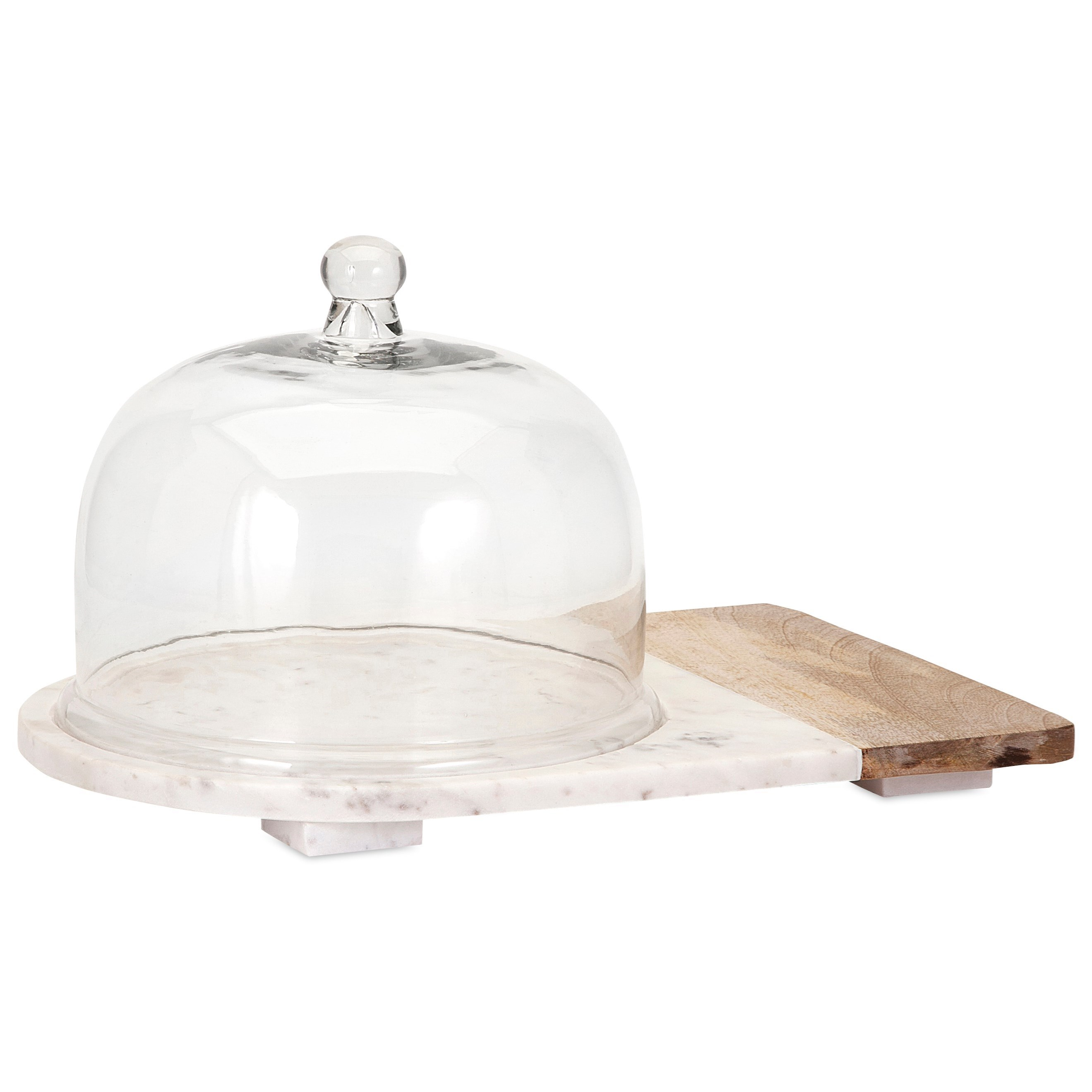 Accessories Lyna Marble and Wood Cheese Dome by IMAX Worldwide Home at Alison Craig Home Furnishings