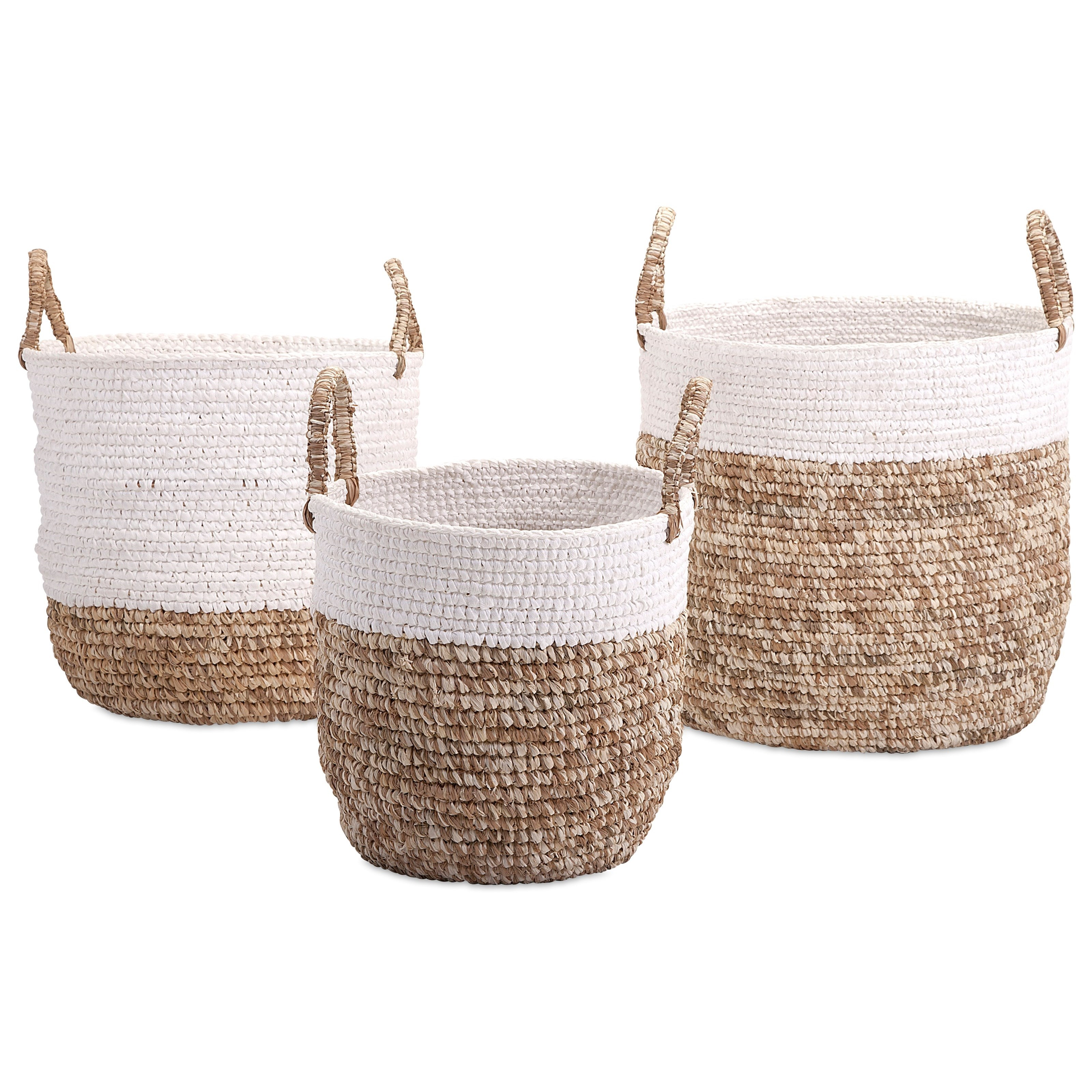 Baskets Shoelace and Raffia Woven Baskets - Set of 3 by IMAX Worldwide Home at Alison Craig Home Furnishings