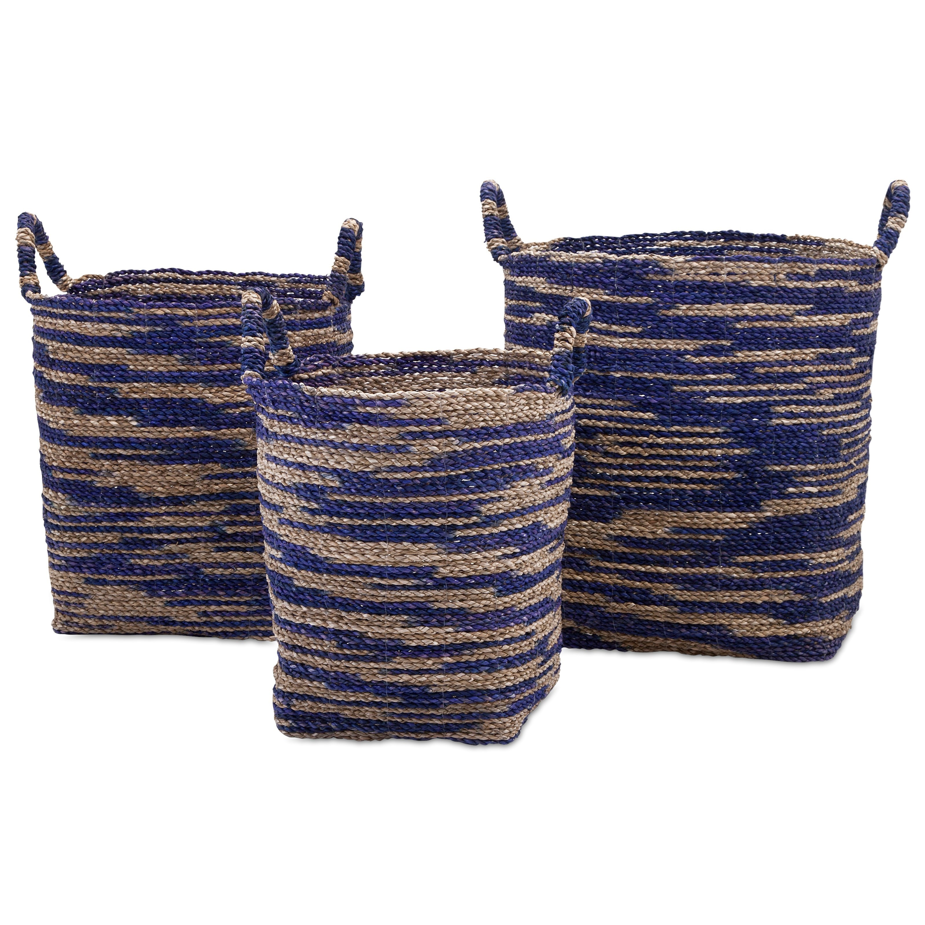 Baskets Cyprus Seagrass Baskets - Set of 3 by IMAX Worldwide Home at Alison Craig Home Furnishings