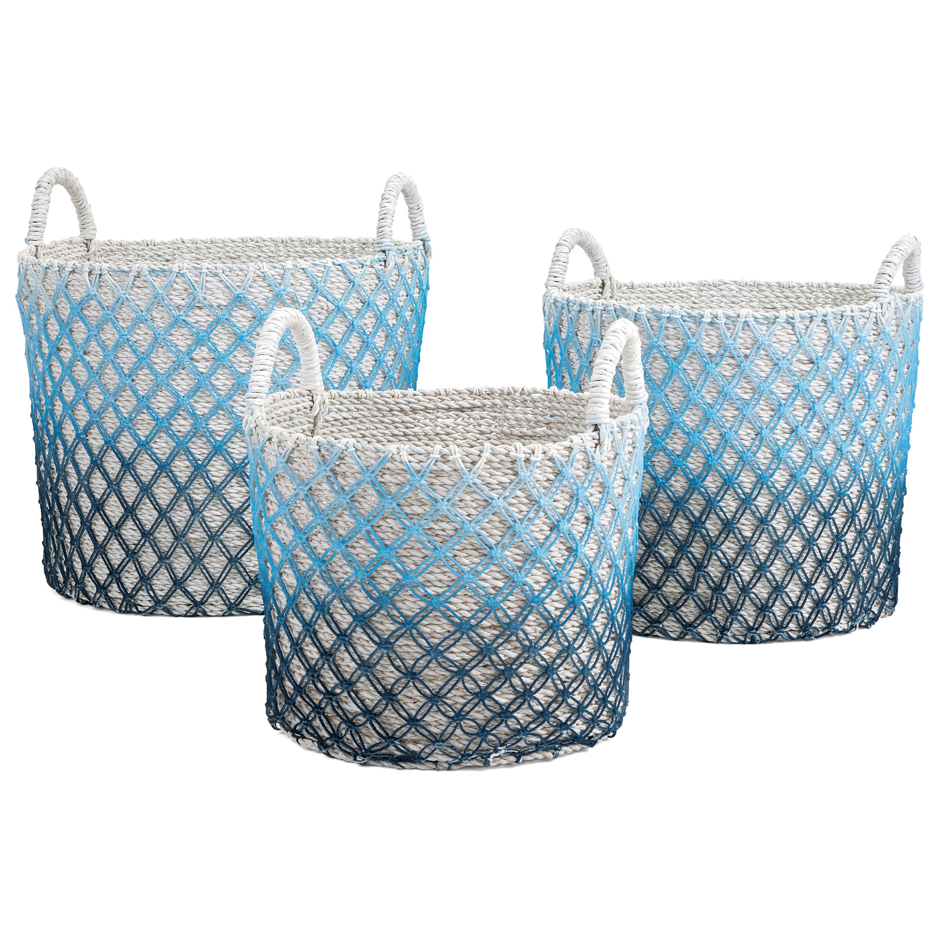Baskets Crochet Ombre Basket - Set of 3 by IMAX Worldwide Home at Alison Craig Home Furnishings