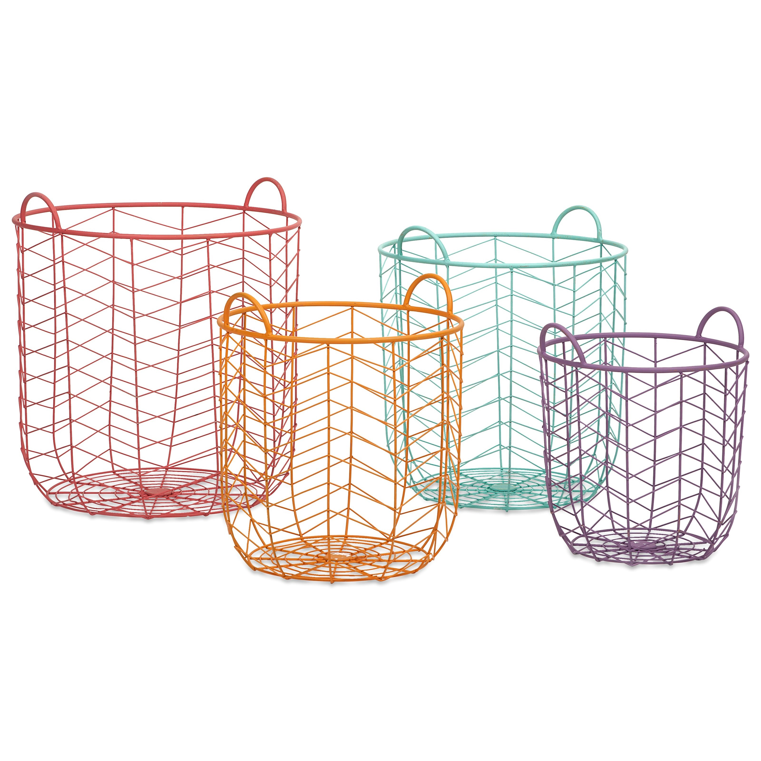Baskets Maya Metal Baskets - Set of 4 by IMAX Worldwide Home at Alison Craig Home Furnishings