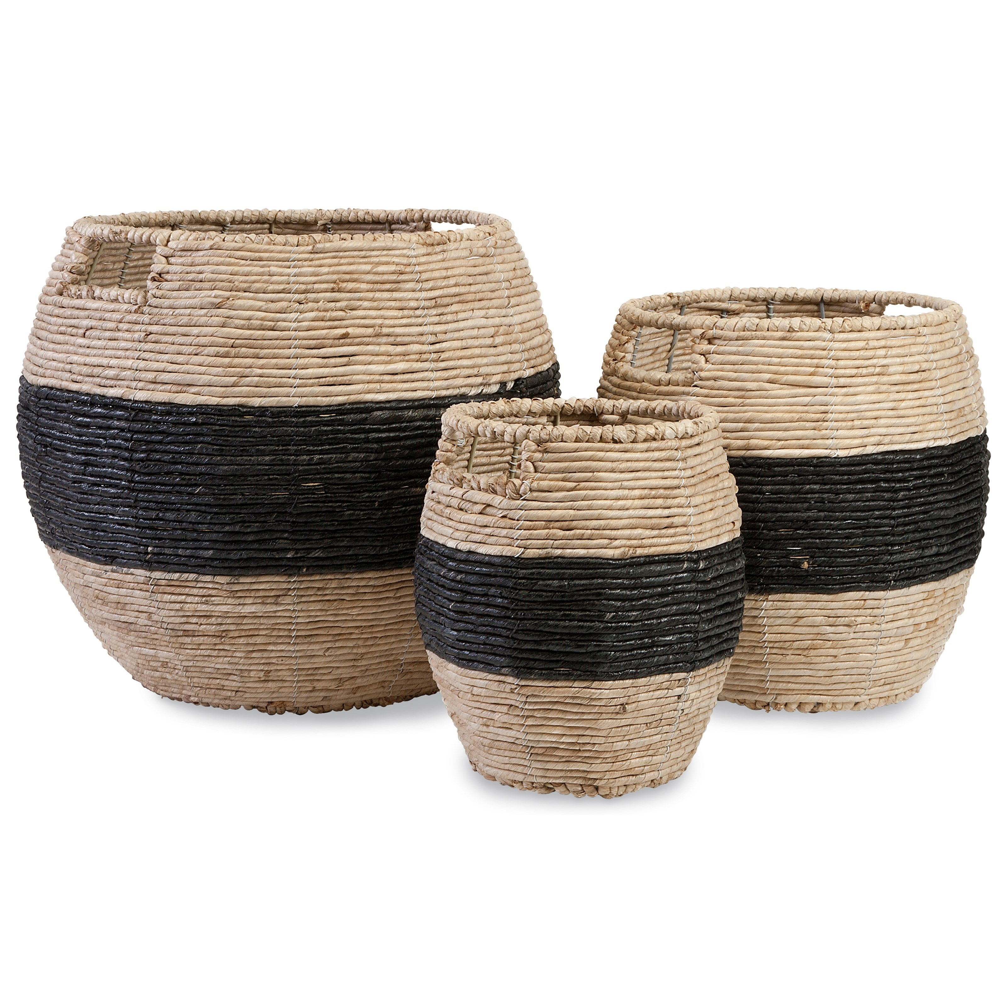 Baskets Dorran Woven Baskets - Set of 3 by IMAX Worldwide Home at Alison Craig Home Furnishings