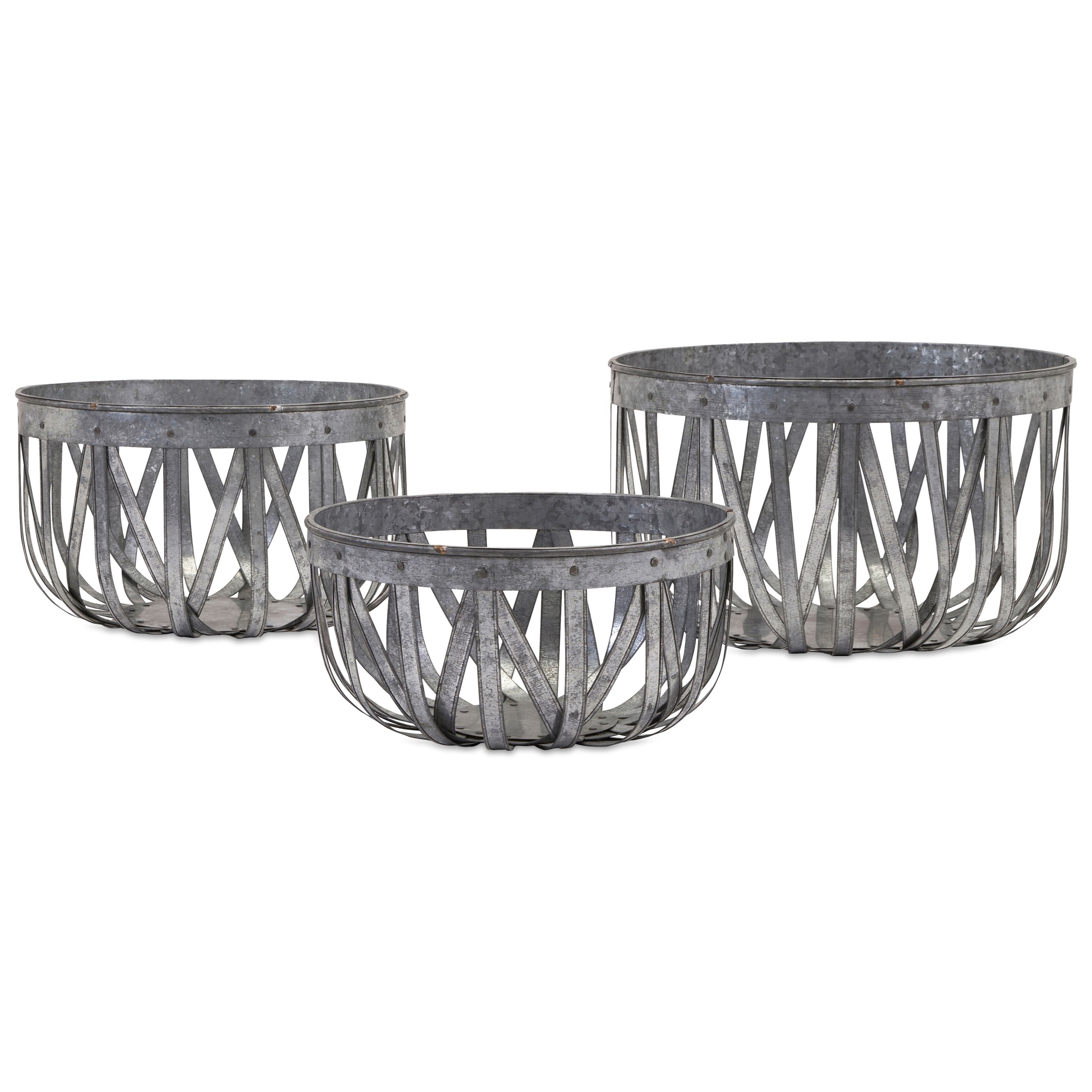Baskets Arlene Galvanized Baskets - Set of 3 by IMAX Worldwide Home at Alison Craig Home Furnishings