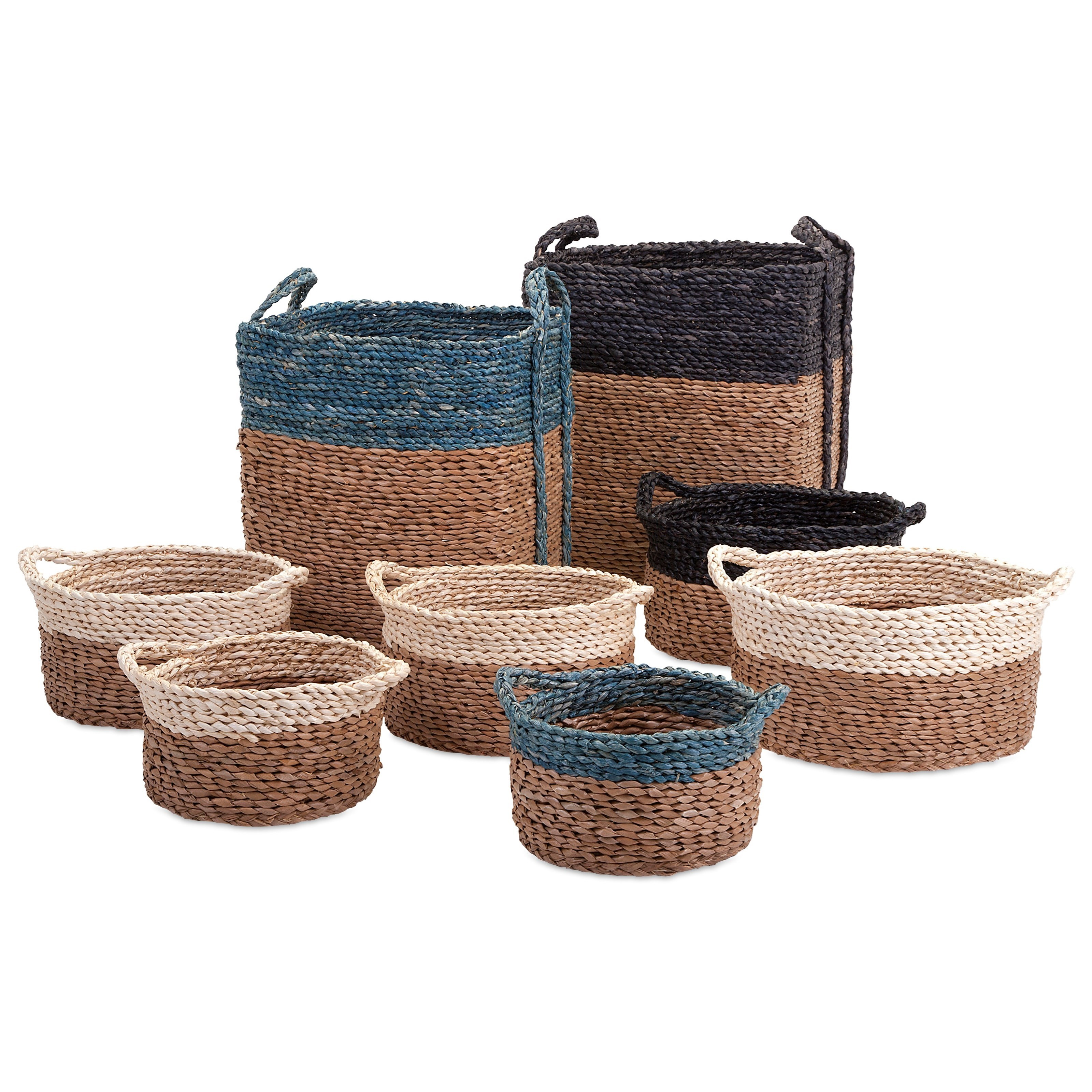 Baskets Bennet Woven Baskets - Set of 8 by IMAX Worldwide Home at Alison Craig Home Furnishings