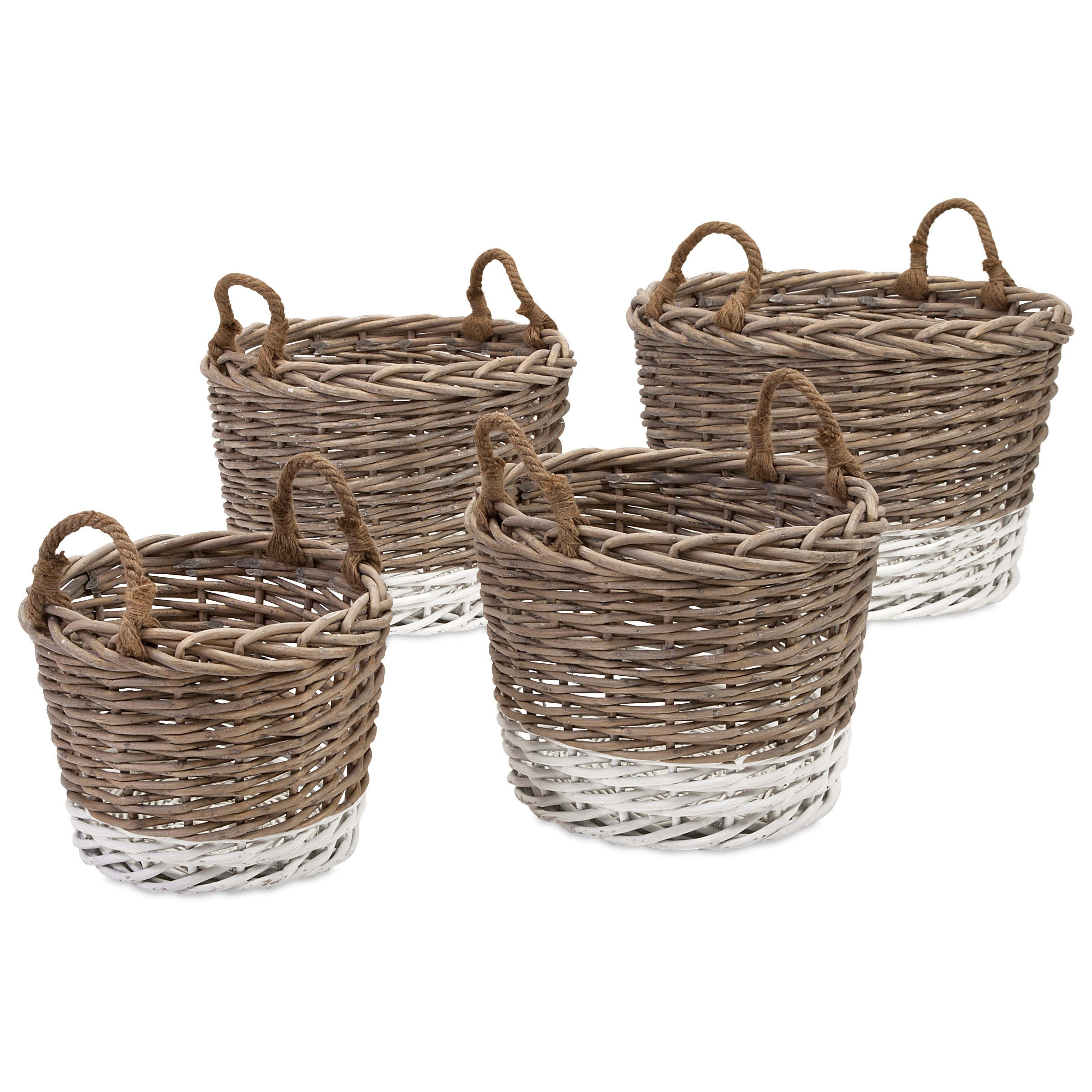 Baskets Danica Willow Baskets - Set of 4 by IMAX Worldwide Home at Alison Craig Home Furnishings