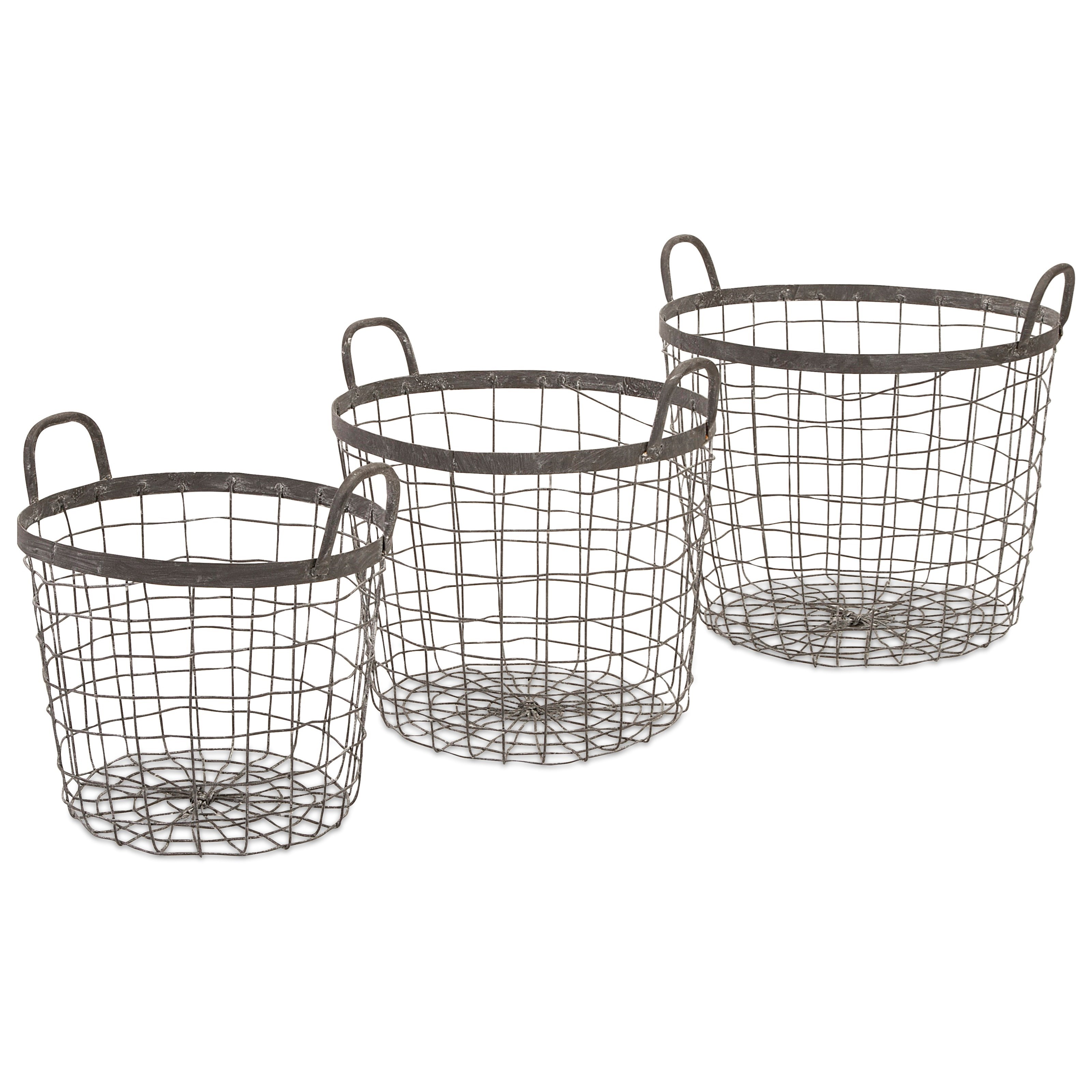 Baskets Metro Wire Baskets - Set of 3 by IMAX Worldwide Home at Alison Craig Home Furnishings