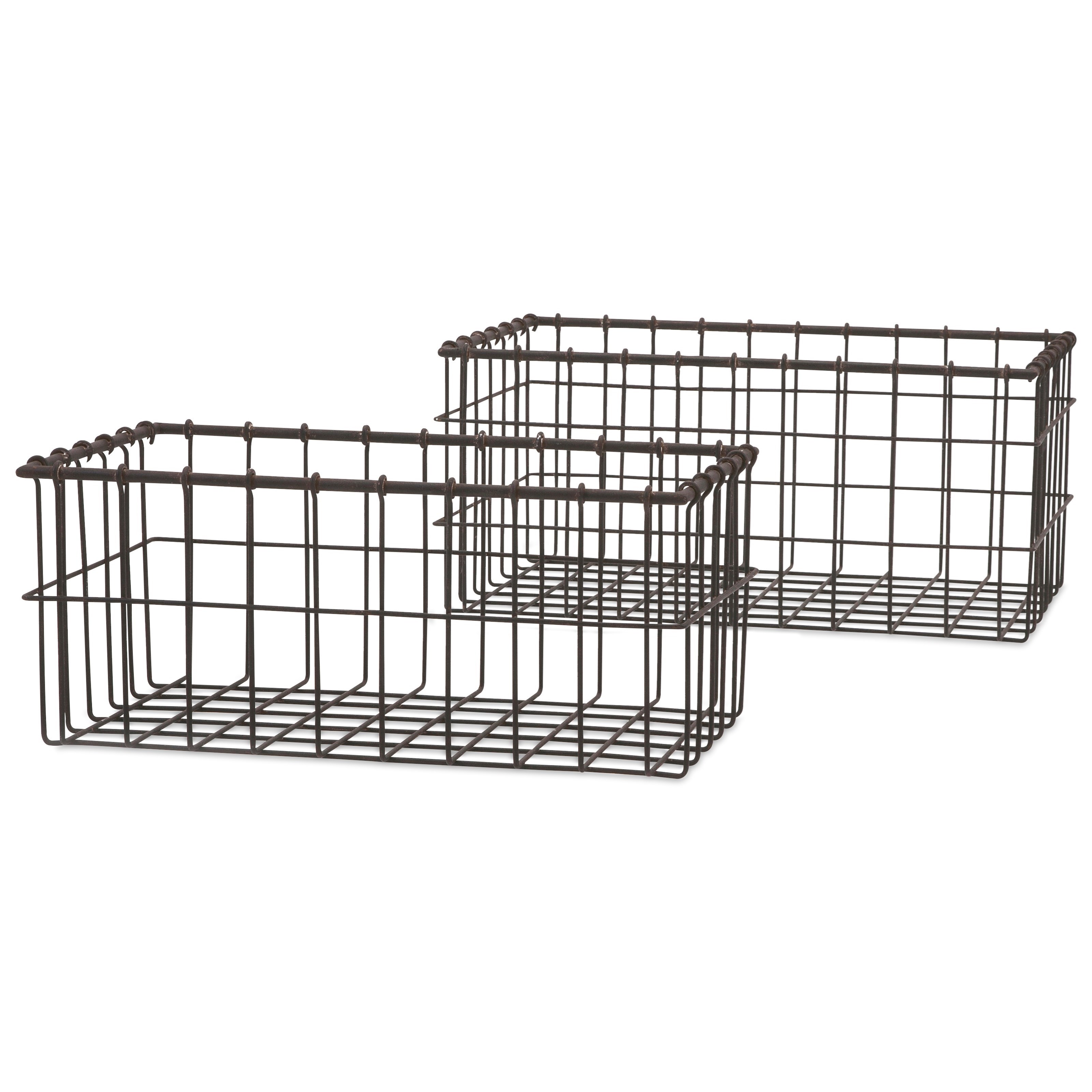 Baskets Hoyle Wire Baskets - Set of 2 by IMAX Worldwide Home at Alison Craig Home Furnishings