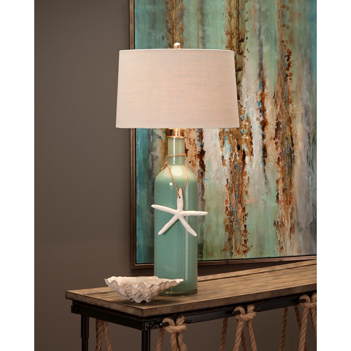 Becky Fletcher Hale Glass Coastal Table Lamp by IMAX Worldwide Home at Alison Craig Home Furnishings