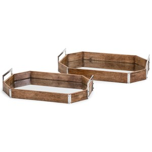 New Frontier Wood and Mirror Decorative Trays - Set of 2