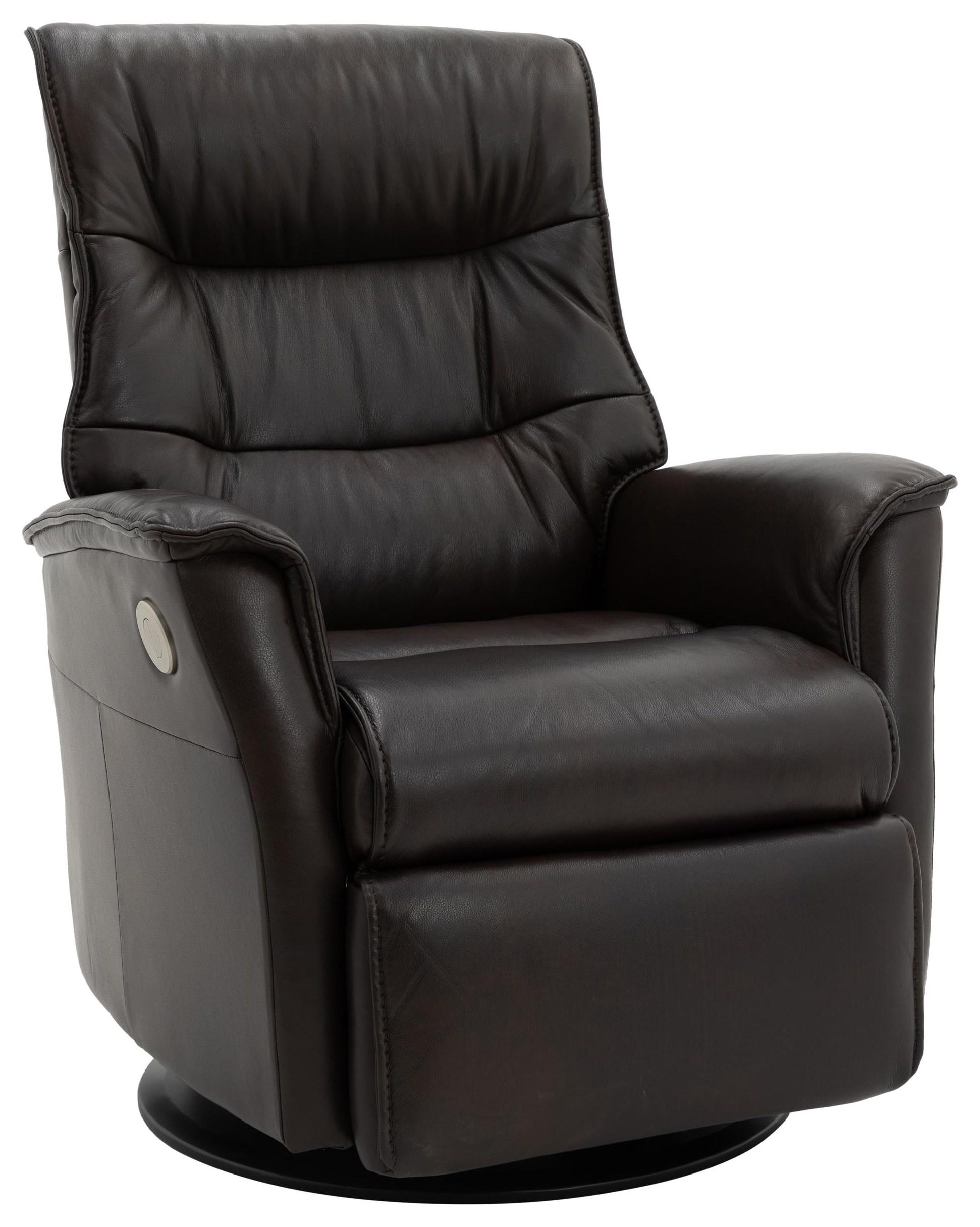 PARAMOUNT Dark Brown Leather Medium Power Recliner by Norwegian Comfort at Walker's Furniture