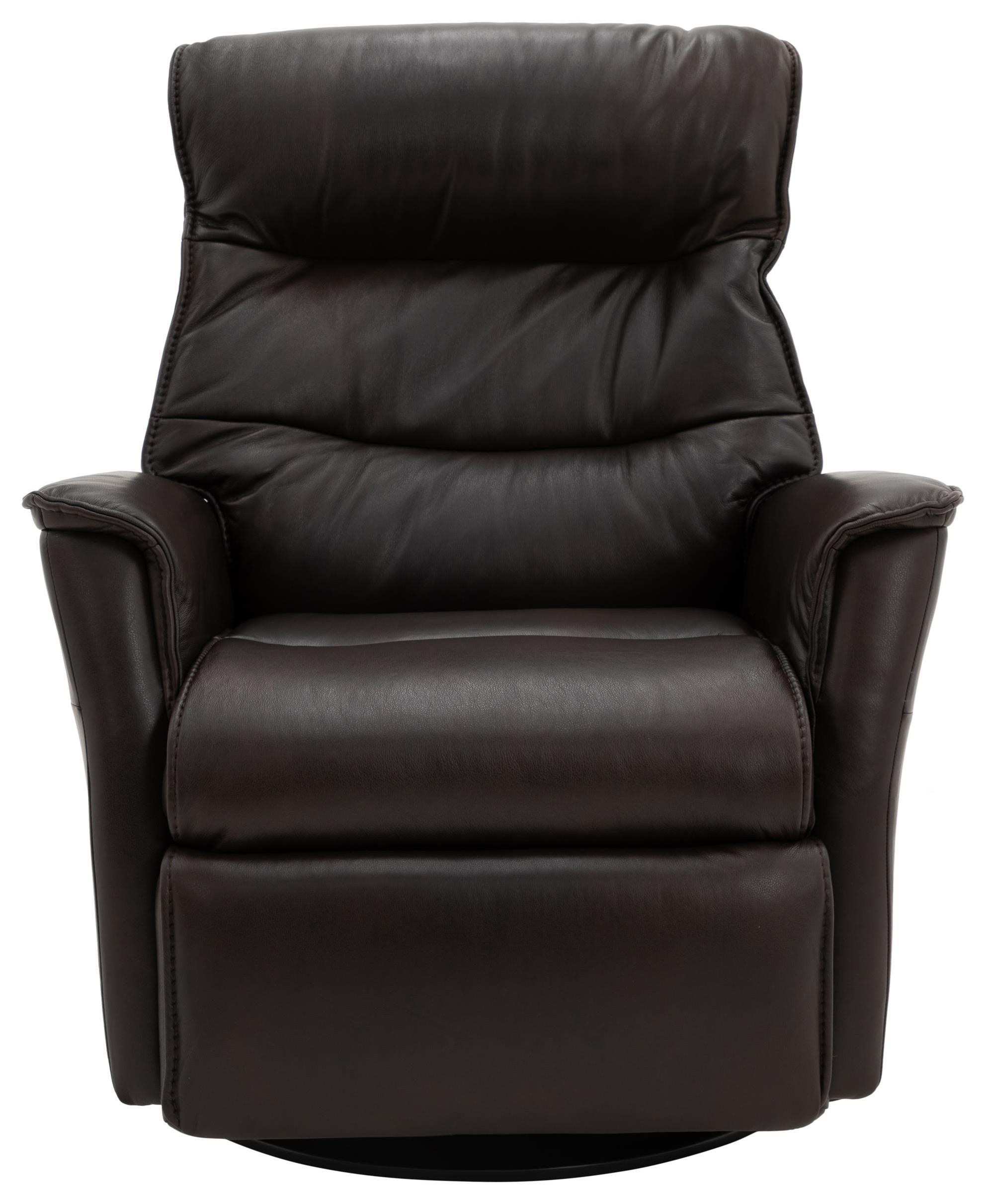 PARAMOUNT DARK BROWN LEATHER LARGE POWER RECLINER by Norwegian Comfort at Walker's Furniture