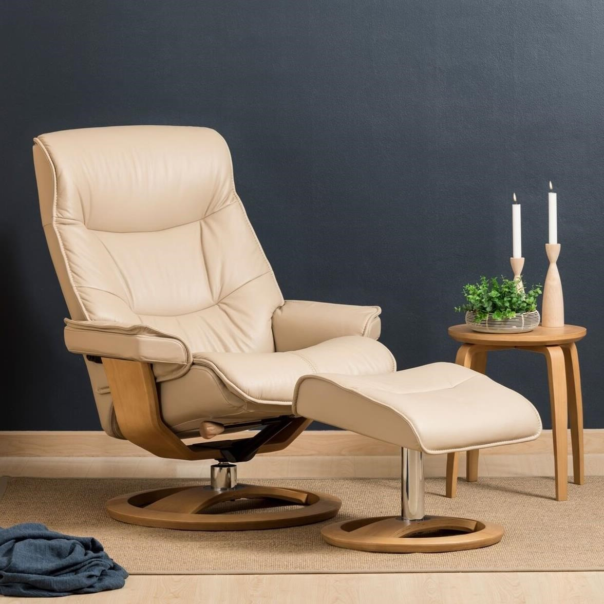 Regal Large Cortina Recliner and Ottoman by IMG Norway at Wilson's Furniture