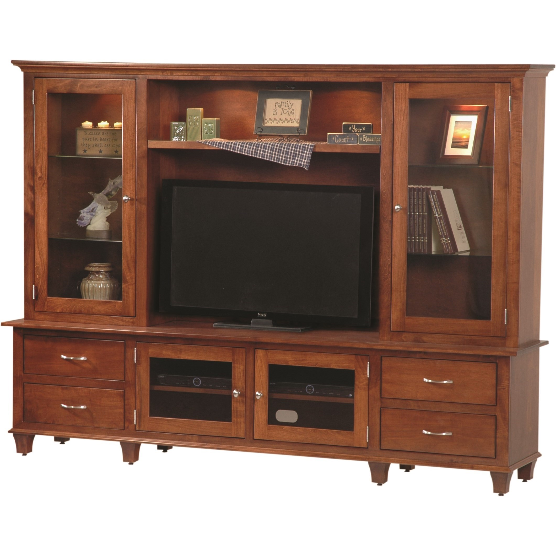 Entertainment Customizable Bourten Hutch Wall Unit by INTEG Wood Products at Saugerties Furniture Mart