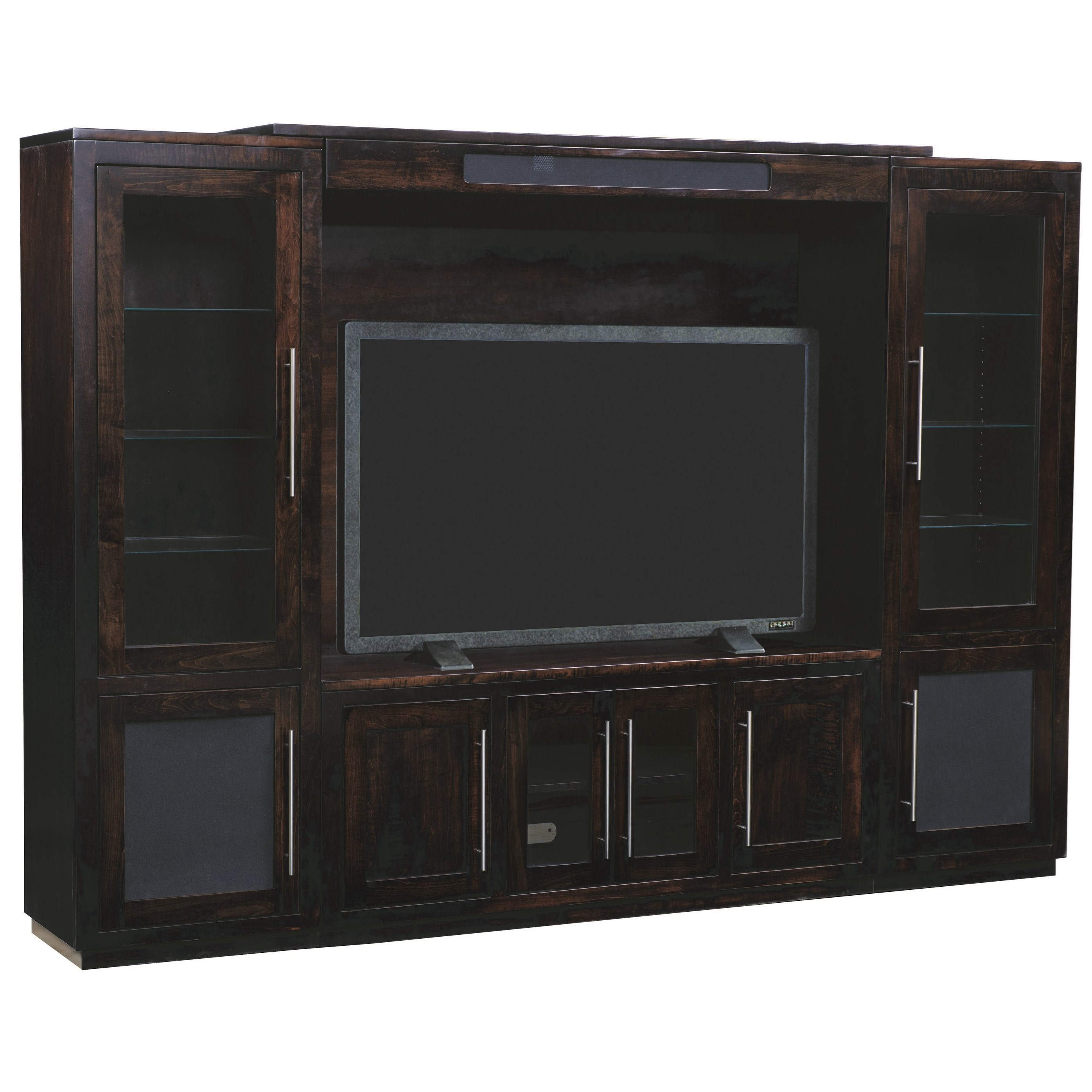 Entertainment Customizable NY Bridge Wall Unit by INTEG Wood Products at Saugerties Furniture Mart