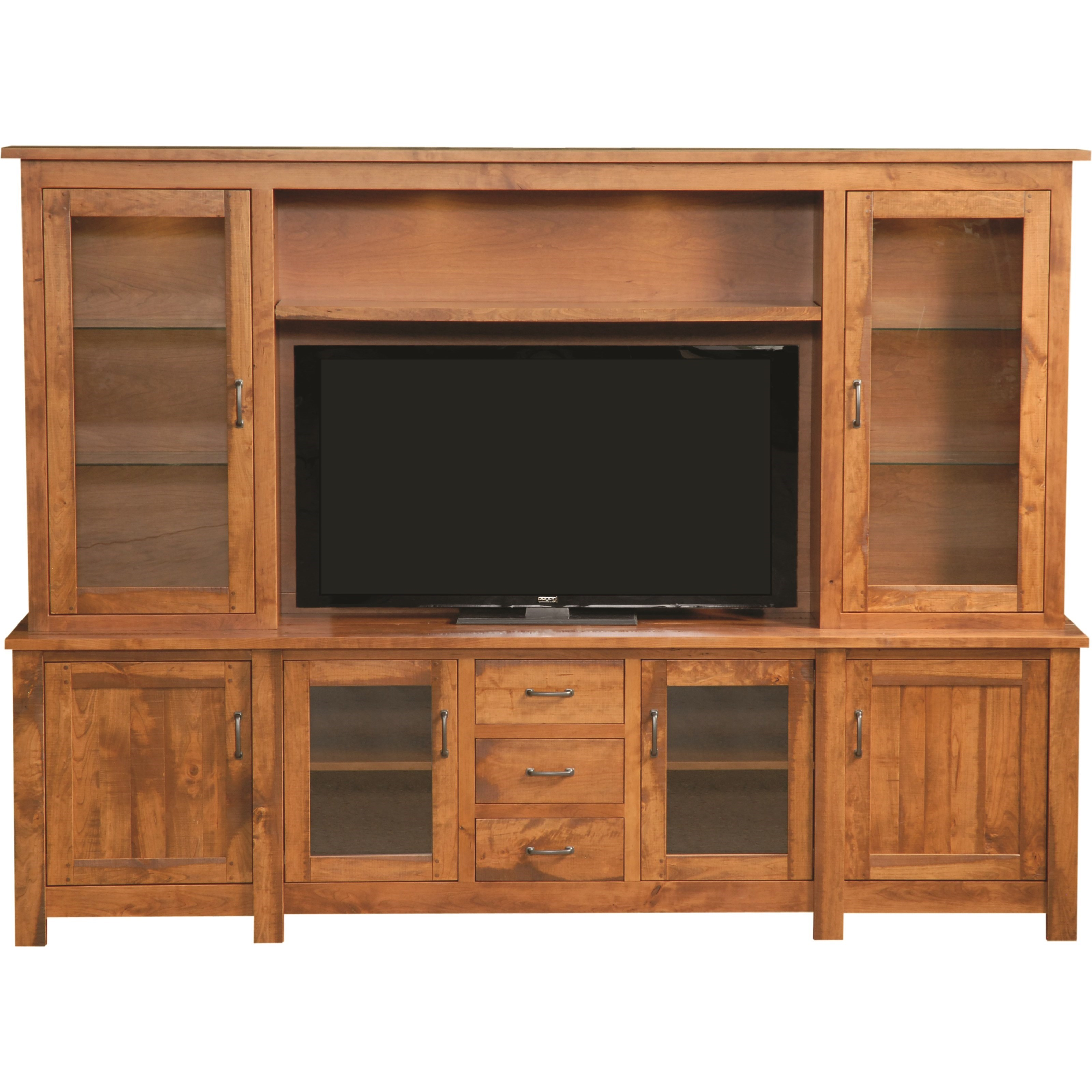 Entertainment Rustic Hutch Wall Unit by INTEG Wood Products at Saugerties Furniture Mart
