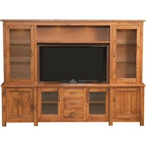 Rustic Hutch Wall Unit with Can Lighting and Wire Management