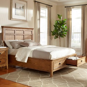 King Low-Profile Bed with Footboard Storage Drawers