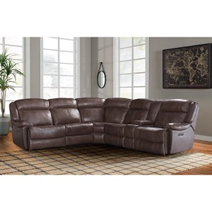 Casual Dual Power Reclining Sectional Sofa with Power Headrests, USB Ports, and Cup Holders