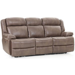 Casual Dual Power Reclining Sofa with Power Headrest, USB Port, and Flip Down Cup Holders