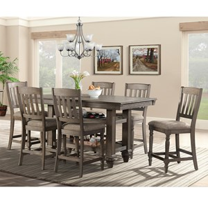 Transitional 7 Piece Dining Set with Lower Shelving