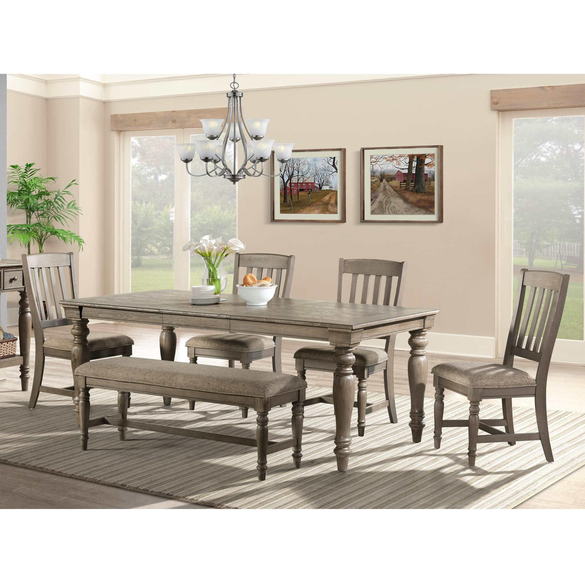 Table and Chair Set with Bench at Sadler's Home Furnishings