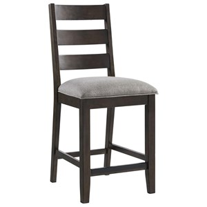 Transitional Counter Height Ladder Back Stool with Upholstered Seat