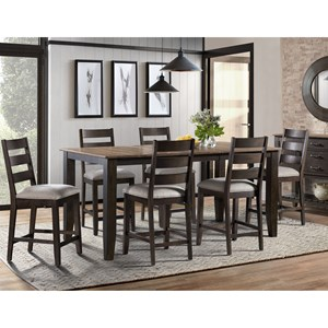 Transitional 7-Piece Counter Height Table and Chair Set with Self-Storing Leaf and Upholstered Seats
