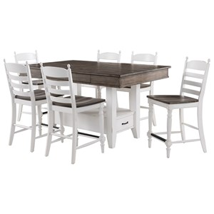Rustic 7 Piece Kitchen Island Dining Set