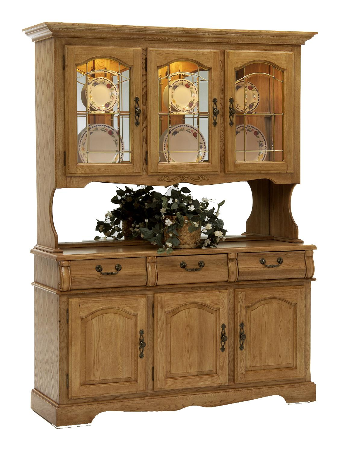 Classic Oak China Hutch and Buffet by Intercon at Dinette Depot