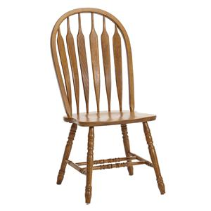 Turned Leg Curved Arrow Back Dining Side Chair
