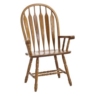 Turned Leg Curved Arrow Back Dining Arm Chair