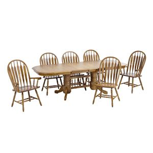 Trestle Table with Two Wide Curved Arrow Arm Chairs and Four Wide Curved Arrow Side Chairs