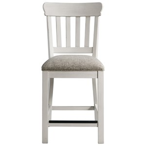 Cottage Counter Height Stool with Upholstered Seat and Slat Back