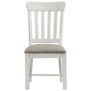Cottage Side Chair with Upholstered Seat and Slat Back
