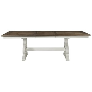 Cottage Dining Table with Trestle Base and Storing Leaf