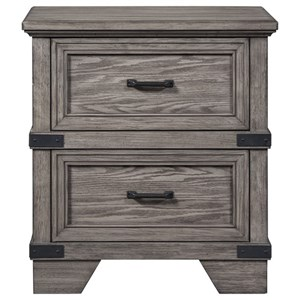 Rustic Industrial Nightstand with USB Charger