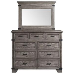 Rustic Industrial Dresser and Mirror Set