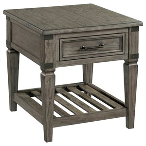 Relaxed Vintage End Table with Drawer and Lower Ladder Shelf