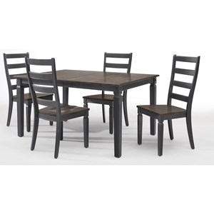 5 Piece Leg Table and Ladder Back Chair Set