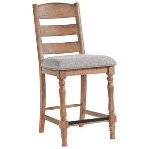 Relaxed Vintage Ladder Back Counter Height Stool with Upholstered Seat