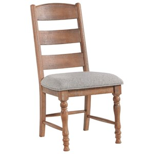 Relaxed Vintage Ladder Back Dining Side Chair with Upholstered Seat