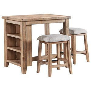 Relaxed Vintage 3-Piece Counter Height Table and Chair Set with Storage