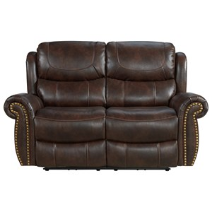 Traditional Power Reclining Loveseat with USB Ports and Nailhead Trim
