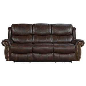 Traditional Power Reclining Sofa with USB Ports and Nailhead Trim