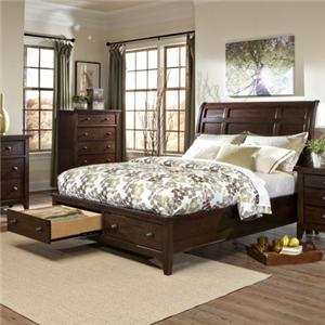 Transitional Queen Storage Bed with Sleigh Headboard